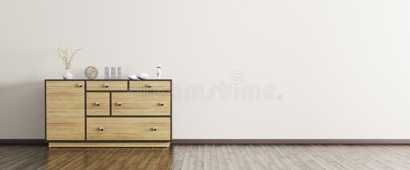 Intérieur moderne avec le rendu en bois du panorama 3d de raboteuse illustration de vecteur