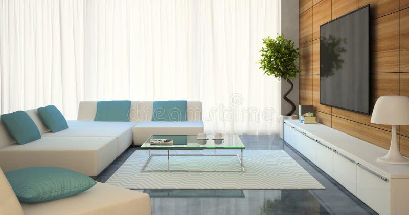 Intérieur moderne avec les sofas et la TV blancs illustration de vecteur