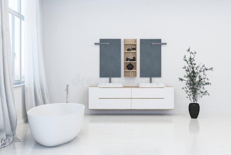 Intérieur moderne blanc propre frais de salle de bains illustration stock