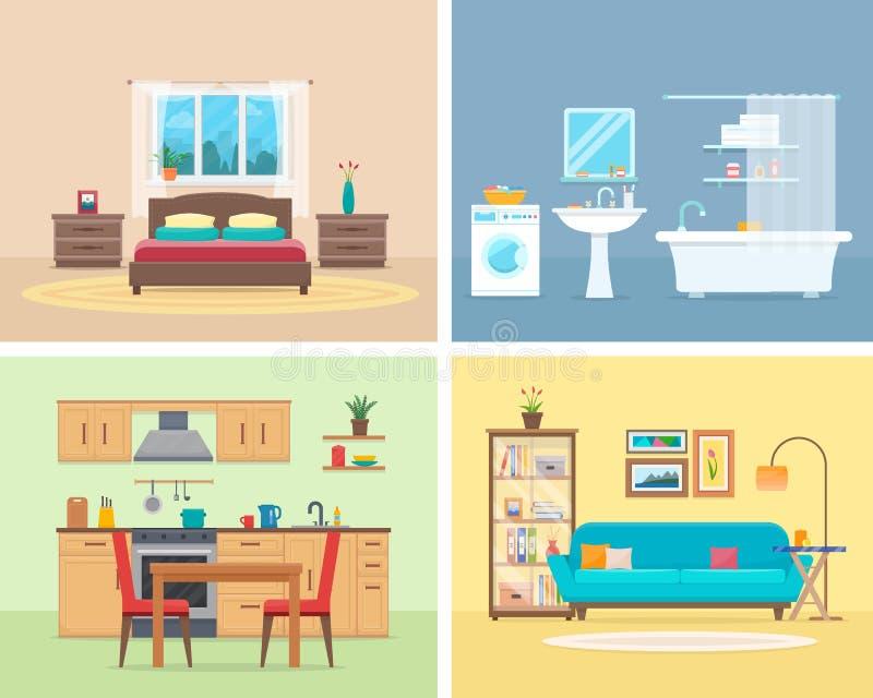 Intérieur moderne détaillé de maison illustration de vecteur