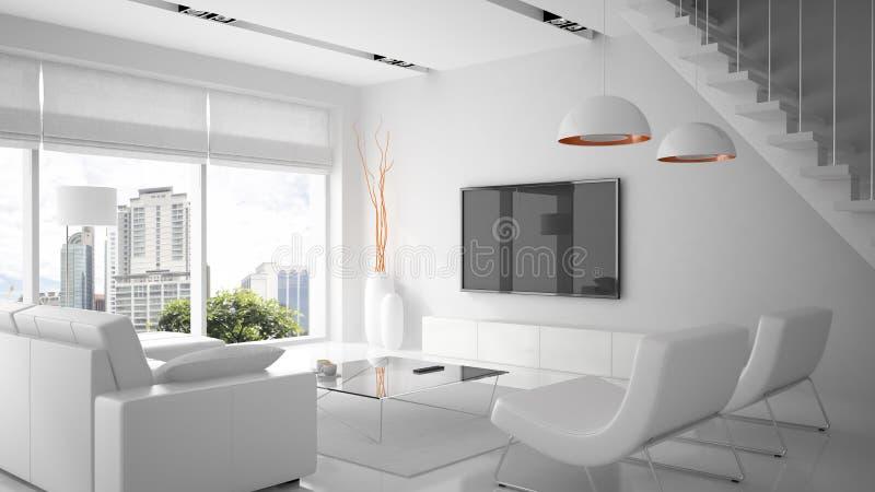 Intérieur moderne dans la couleur blanche photographie stock