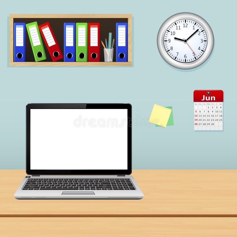 Intérieur moderne de bureau avec le bureau de concepteur illustration de vecteur