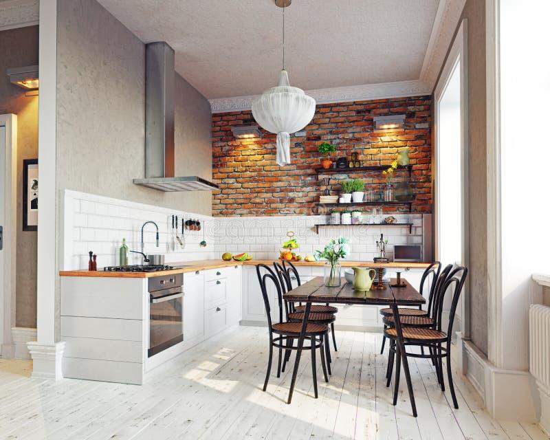 Intérieur moderne de cuisine illustration de vecteur
