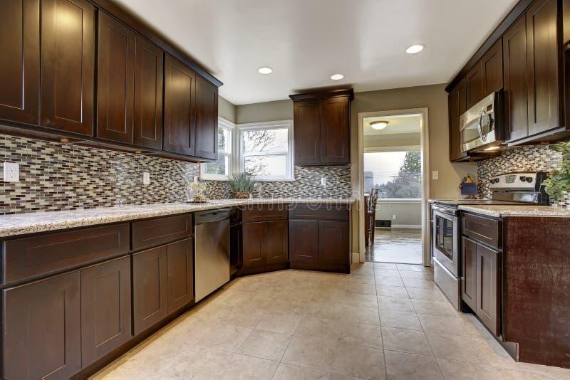 Intérieur moderne de cuisine avec des meubles de rangement de brun foncé images stock