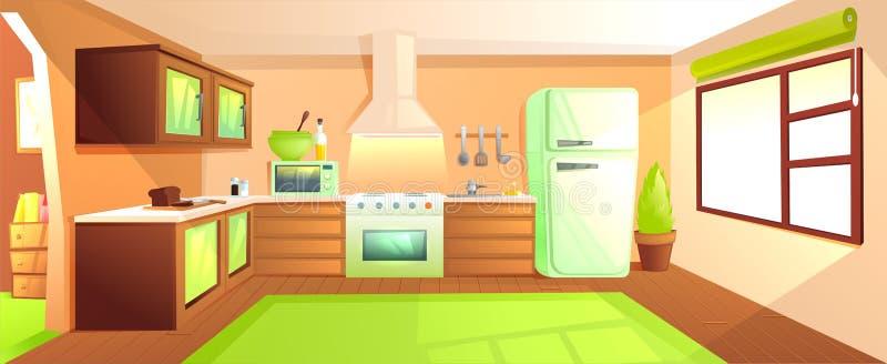 Intérieur moderne de cuisine avec des meubles Pièce de conception avec le capot et le fourneau et la micro-onde et l'évier et le  illustration libre de droits