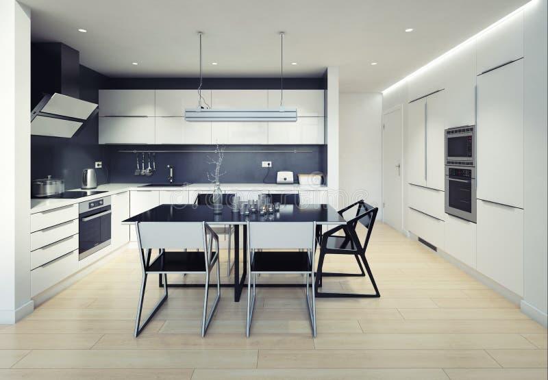 Intérieur moderne de cuisine de bla illustration de vecteur