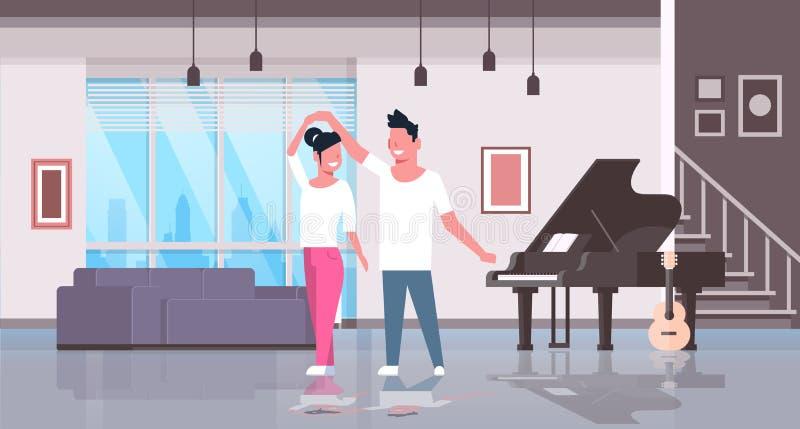 Intérieur moderne de danse d'appartement d'amants de femme d'homme de couples de hall d'instruments de musique de guitare à la ma illustration libre de droits