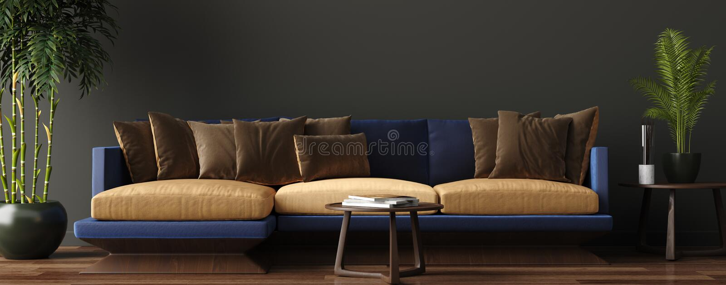 Intérieur moderne de luxe de salon, mur brun vert-foncé, sofa moderne avec le fauteuil et usines illustration de vecteur