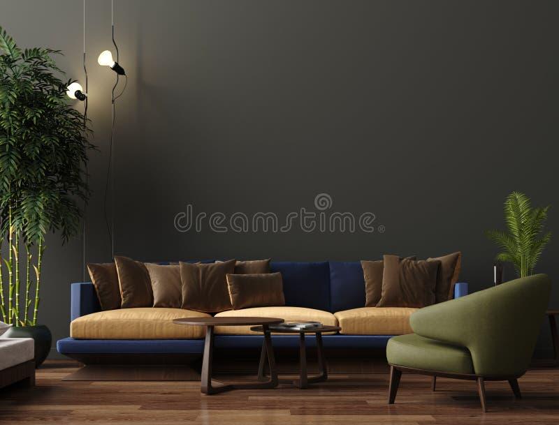 Intérieur moderne de luxe de salon, mur brun vert-foncé, sofa moderne avec le fauteuil et usines illustration stock