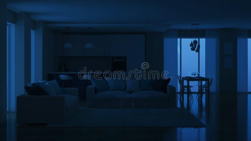 Intérieur moderne de maison Éclairage de soirée nuit image stock