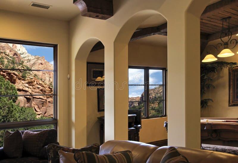Intérieur moderne de maison de villa de montagne de l'Arizona photo stock