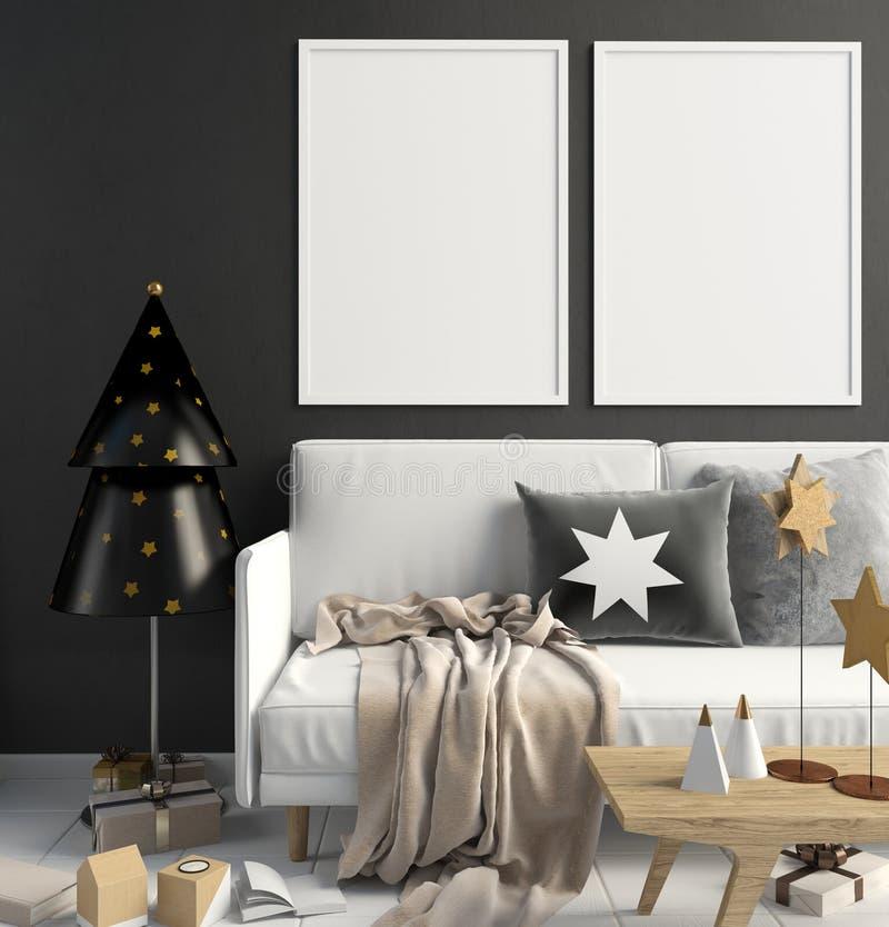 Intérieur moderne de Noël de style scandinave illustration 3D illustration stock
