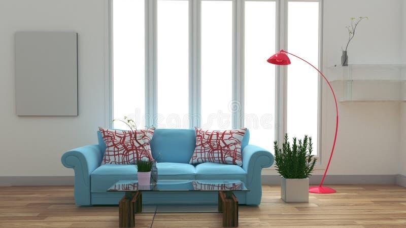 Intérieur moderne de pièce avec le sofa et la table et la lampe bleus sur la pièce blanche rendu 3d illustration de vecteur