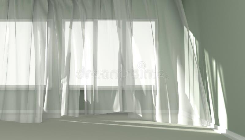 Intérieur moderne de pièce avec les rideaux blancs et la lumière du soleil illustration libre de droits