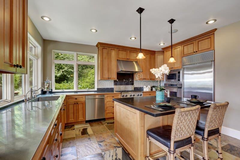 Intérieur moderne de pièce de cuisine avec de nouveaux appareils en acier photographie stock libre de droits