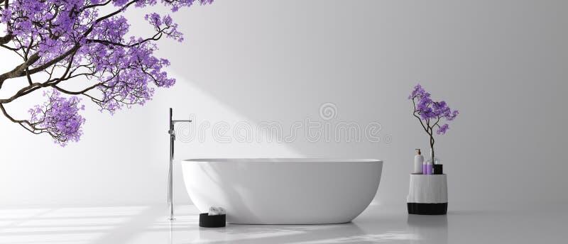 Intérieur moderne de salle de bains avec l'arbre de fleur, moquerie de mur d'affiche  image stock