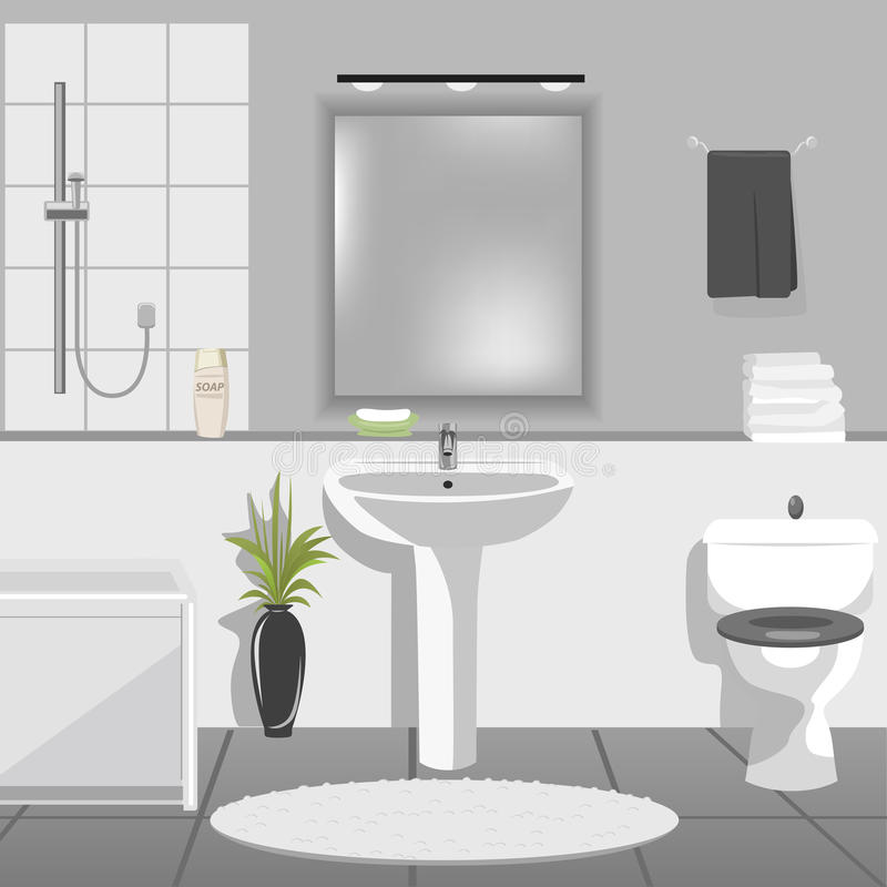 Intérieur moderne de salle de bains avec l'évier, baignoire, toilette illustration stock