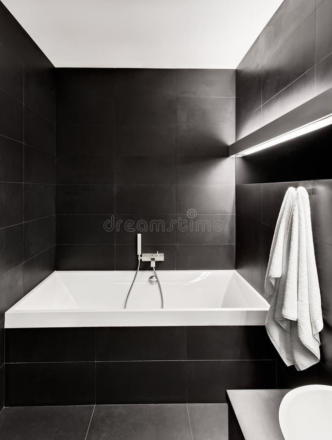 Intérieur moderne de salle de bains de type de minimalisme images libres de droits