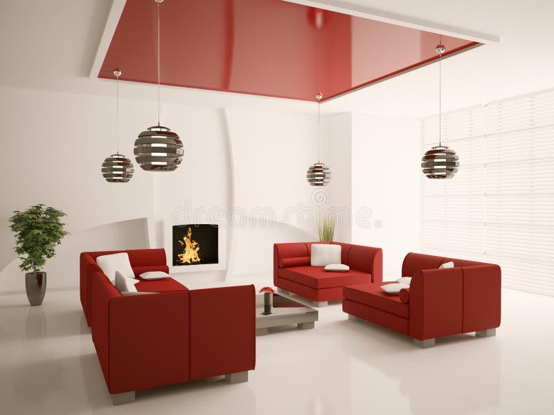 Intérieur moderne de salle de séjour avec la cheminée 3d illustration libre de droits
