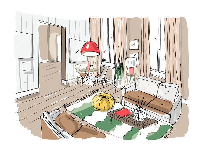 Intérieur moderne de salle de séjour Salon meublé Croquis coloré d'illustration de vecteur sur le fond clair illustration libre de droits