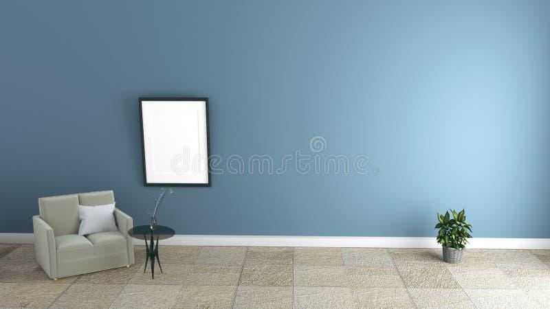 Intérieur moderne de salon avec des fauteuils sur le mur bleu-foncé rendu 3d illustration stock