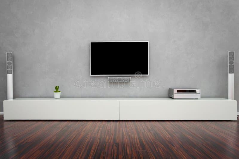 Salon moderne avec la TV photographie stock