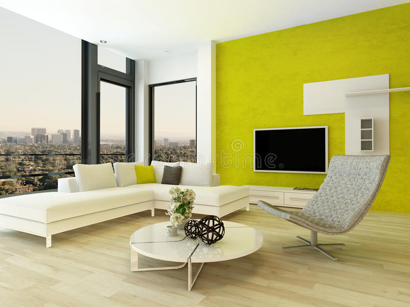 int rieur moderne de salon avec le mur vert illustration stock illustration du divan home. Black Bedroom Furniture Sets. Home Design Ideas