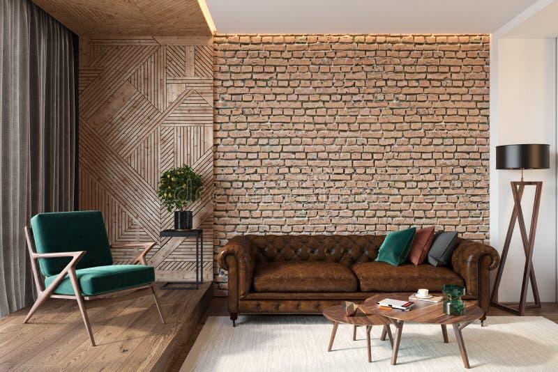 Intérieur moderne de salon avec le mur vide de mur de briques, sofa brun en cuir, chaise longue verte, table, mur en bois illustration libre de droits