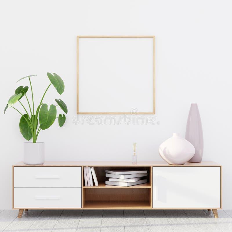 Intérieur moderne de salon avec une raboteuse en bois et une maquette carrée d'affiche, 3D rendre photo libre de droits
