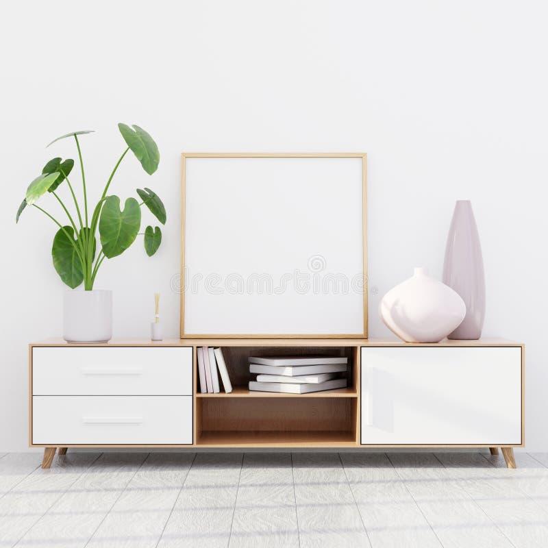 Intérieur moderne de salon avec une raboteuse en bois et une maquette carrée d'affiche, 3D rendre image libre de droits