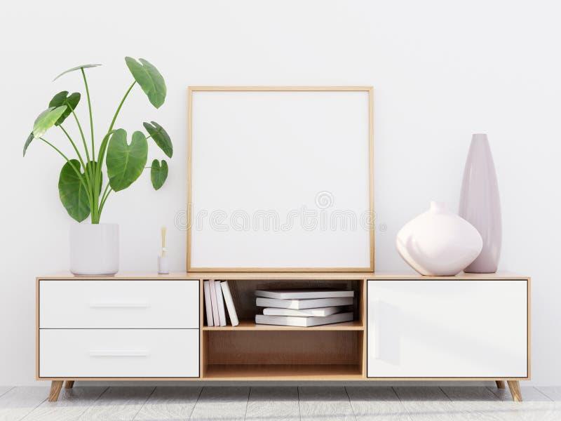Intérieur moderne de salon avec une raboteuse en bois et une maquette carrée d'affiche, 3D rendre illustration de vecteur
