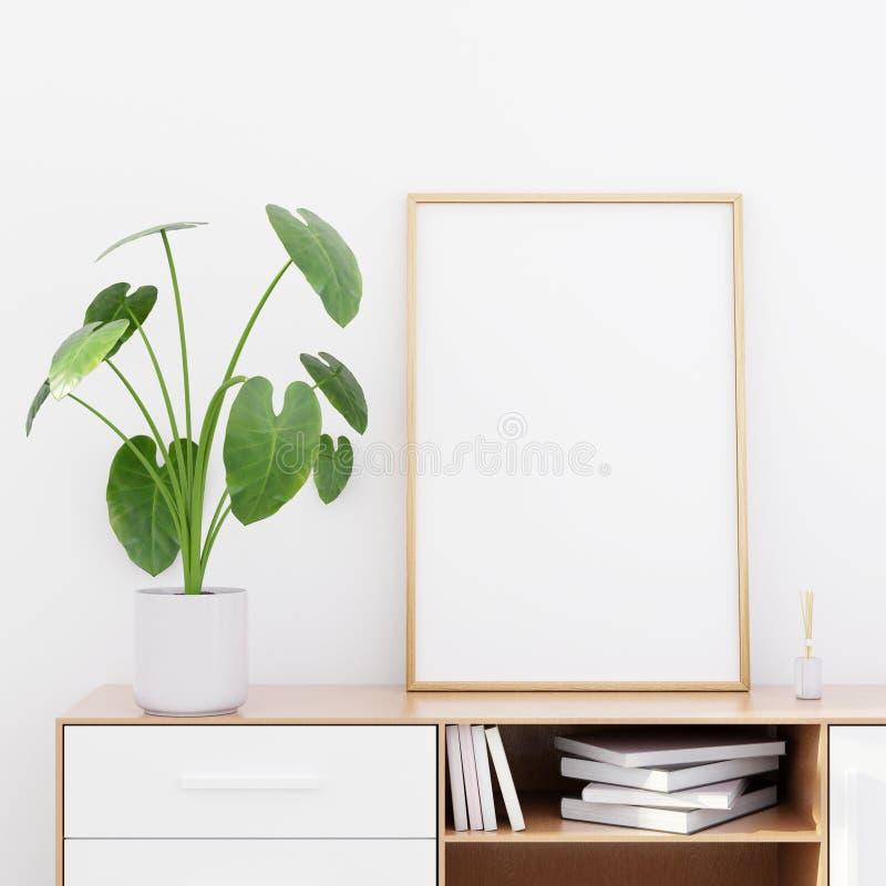 Intérieur moderne de salon avec une raboteuse en bois et une maquette d'affiche, 3D rendre photographie stock libre de droits