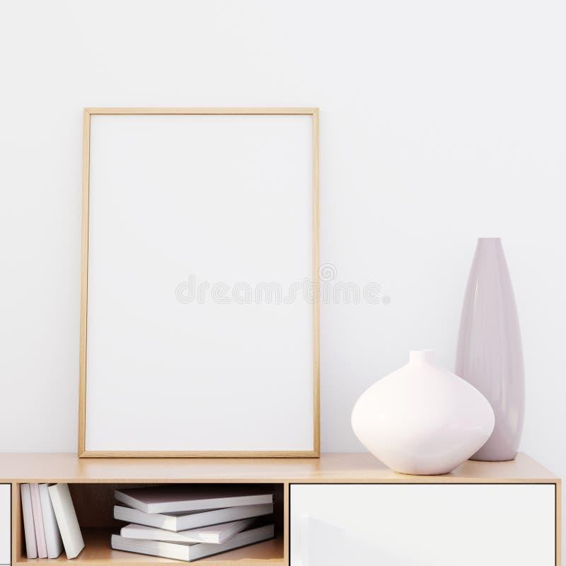 Intérieur moderne de salon avec une raboteuse en bois et une maquette d'affiche, 3D rendre images libres de droits