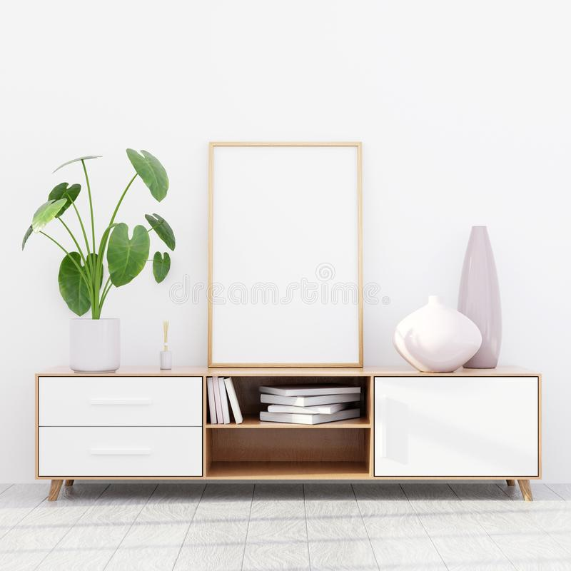Intérieur moderne de salon avec une raboteuse en bois et une maquette d'affiche, 3D rendre images stock