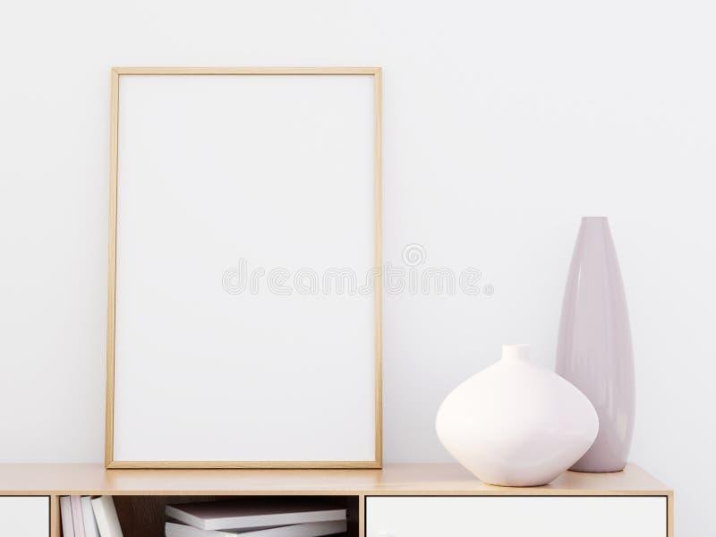 Intérieur moderne de salon avec une raboteuse en bois et une maquette d'affiche, 3D rendre image stock