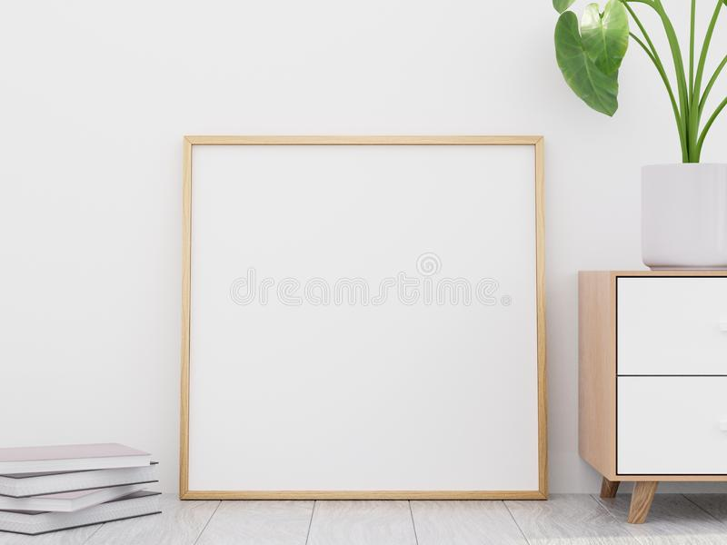 Intérieur moderne de salon avec une raboteuse en bois et une maquette d'affiche, 3D rendre illustration stock