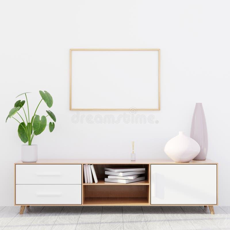 Intérieur moderne de salon avec une raboteuse en bois et une maquette horizontale d'affiche, 3D rendre photographie stock libre de droits