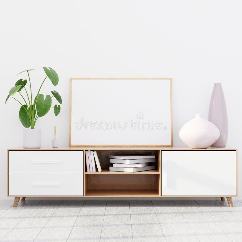 Intérieur moderne de salon avec une raboteuse en bois et une maquette horizontale d'affiche, 3D rendre photos stock