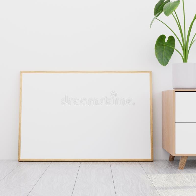 Intérieur moderne de salon avec une raboteuse en bois et une maquette horizontale d'affiche, 3D rendre illustration libre de droits