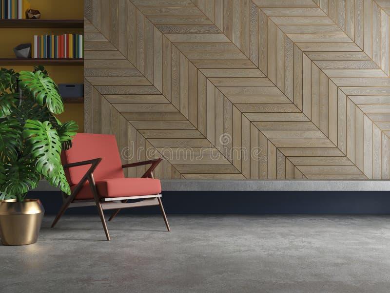 Intérieur moderne de salon vide avec le fauteuil, usine, plancher en béton, bois illustration de vecteur