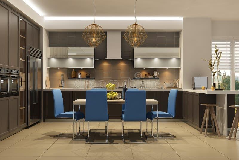 Intérieur moderne de style de salon avec la cuisine dans des couleurs brunes avec le sofa bleu illustration stock