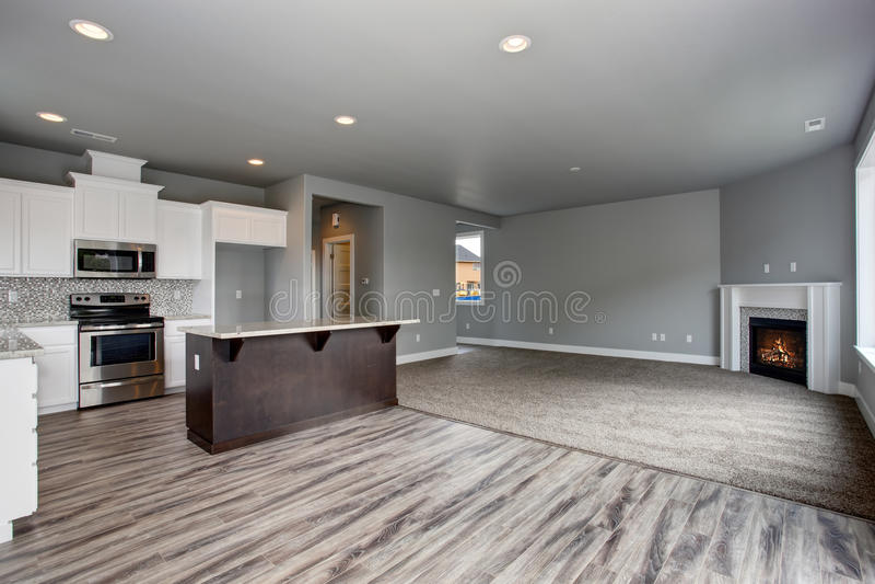Intérieur moderne et complètement gris de maison photos stock