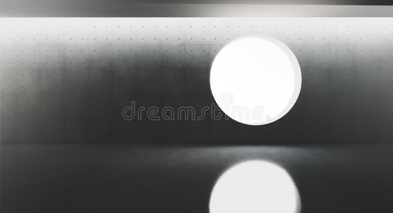 Intérieur moderne et futuriste avec la fenêtre ronde au centre du mur et des réflexions de concret rendu 3d illustration stock