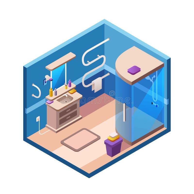 Intérieur moderne isométrique de salle de bains de vecteur illustration de vecteur