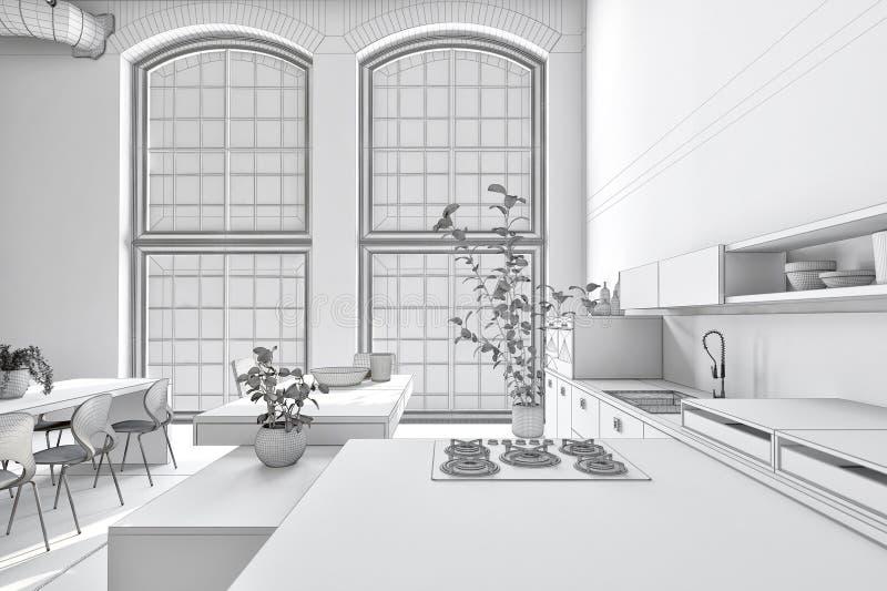 Intérieur monochrome blanc pur rigide de cuisine illustration libre de droits