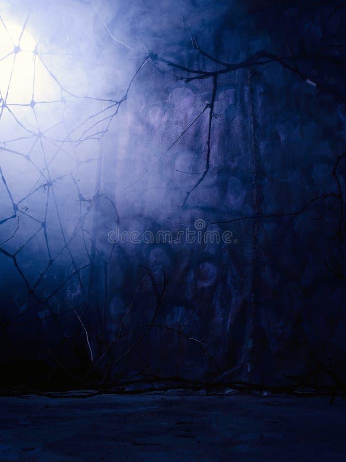 Intérieur mystique foncé avec de la fumée photographie stock libre de droits
