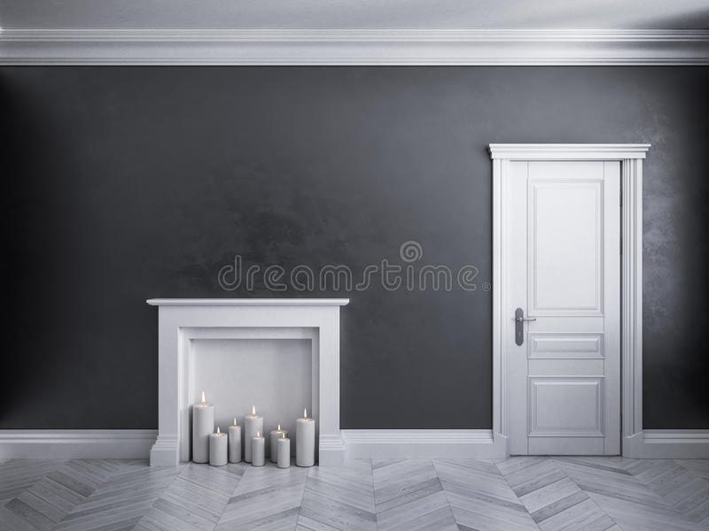 Intérieur noir classique avec la porte, le parquet, et la cheminée avec des bougies illustration de vecteur