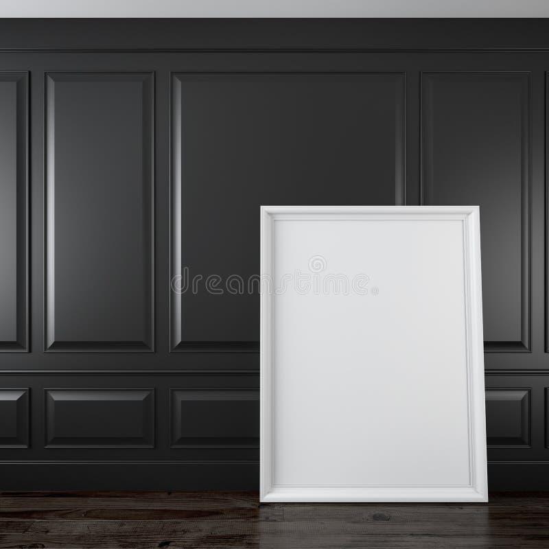 Intérieur noir classique avec le cadre illustration de vecteur