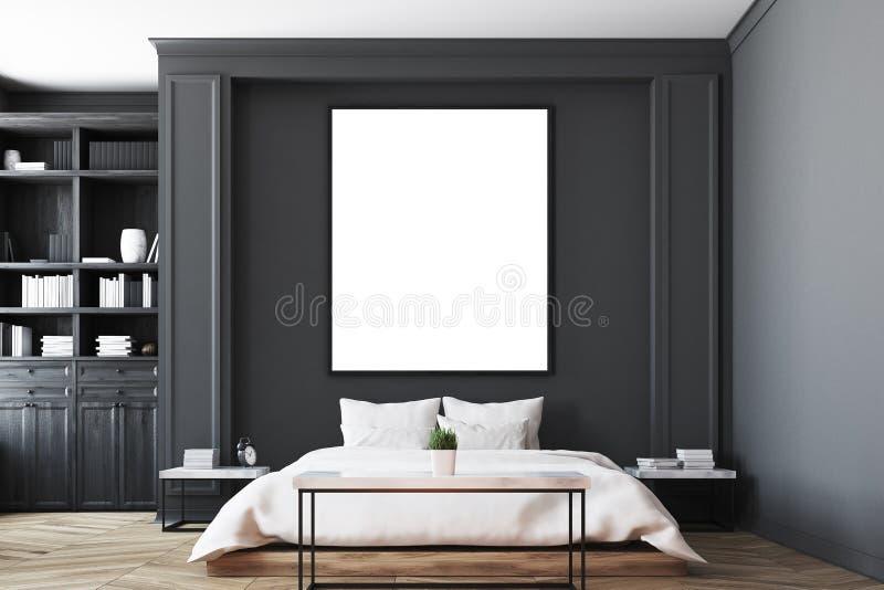 Intérieur noir de chambre à coucher, haut étroit d'affiche illustration libre de droits