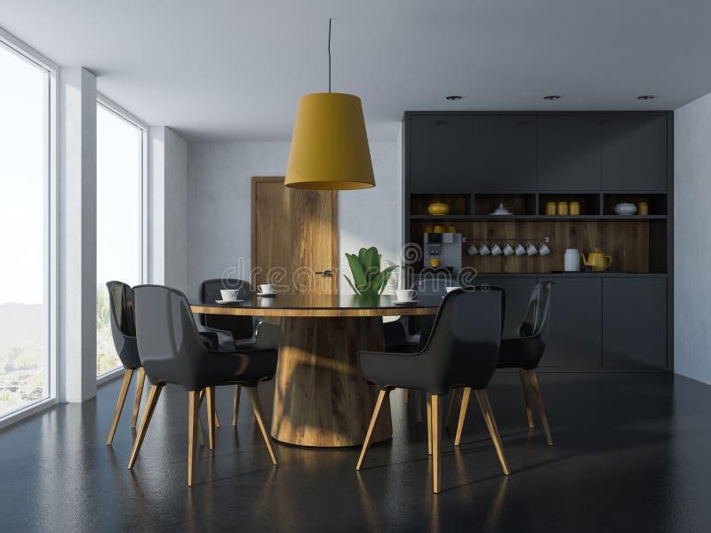 Intérieur noir et en bois confortable de salle à manger illustration libre de droits